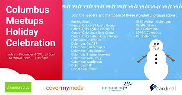 Columbus Tech Meetups Holiday Party Flier